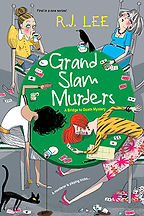 Book Title - Grand Slam Murders, A Bridge to Death Mystery; Book Cover - four dead, wealthy widows poisoned through drinks at their luncheon while playing Bridge