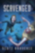 Book Title - Scavenged; Book Cover - young male and female floating in the air looking up in surprise