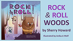Book Title - Rock & Roll Woods; Book Cover - cartoon bear in woods with other smaller animals