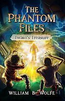 Book Title - The Phantom Files: Twain's Treasure; Book Cover - two young males freaked out standing in front of a portal with a ghost in it