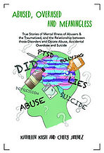 Book Title - Abused, Overused and Meaningless (True Stories of Mental Illness of Abusers & the Traumatized and the Relationship between those Disorders and Opiate Abuse, Accidental Overdose and Suicide); Book Cover - graphic of head with brain showing drugs and negative words