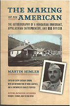 Book Cover - photo of a line of small houses in front of hills with a house on top and a photo of Martin Himler