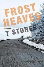 Book Title - Frost Heaves; Book Cover - curve in a road with a tree and snow on the ground