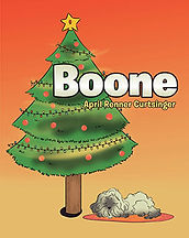 Book Title - Boone; Cover - cartoon of Christmas Tree with dog, Boone, sleeping under it on a rug