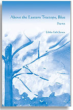 Book Title - Above the Eastern Treetops, Blue; Book Cover - total blue drawing of a tree with smaller trees in background