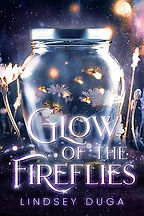 Book Title - Glow of the Fireflies; Book Cover - glowing fireflies in a jar on the ground next to flowers with other fireflies flying around outside of the jar