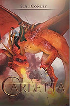 Book Title - Carletta; Book Cover - a man and woman riding on the back of a dragon blowing fire at enemies shooting arrows