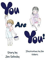 Book Title - You Are You!; Book Cover - two cartoon kids painting the words of the book title