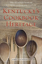 Book Title - Kentucky's Cookbook Heritage (Two Hundred Years of Southern Cuisine and Culture); Book Cover - wooden spoons, fork, and spatula on wood