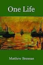 Book Title - One Life; Book Cover - painting of the ocean with ships close to docks