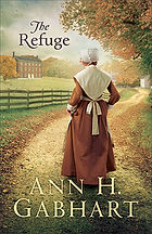Book Title - The Refuge; Book Cover - a Shaker woman walking down a dirt road toward a Shaker Village
