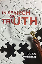 Book Title - In Seach of Truth; Book Cover - white puzzle pieces with magnifying glass over book title