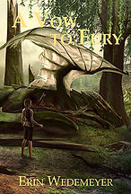 Book Title - A Vow To Fury; Book Cover - dragon laying on the ground wih a female standing next to it