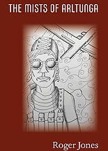 Book Title = The Mists of Arltunga; Book Cover - drawing of a woman with an airplane over her head