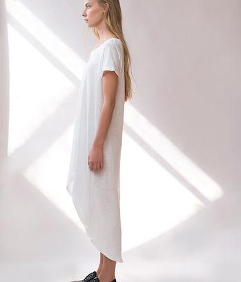 Fashion Model in White Dress