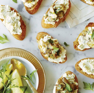 Crostini with parmigiano and chives