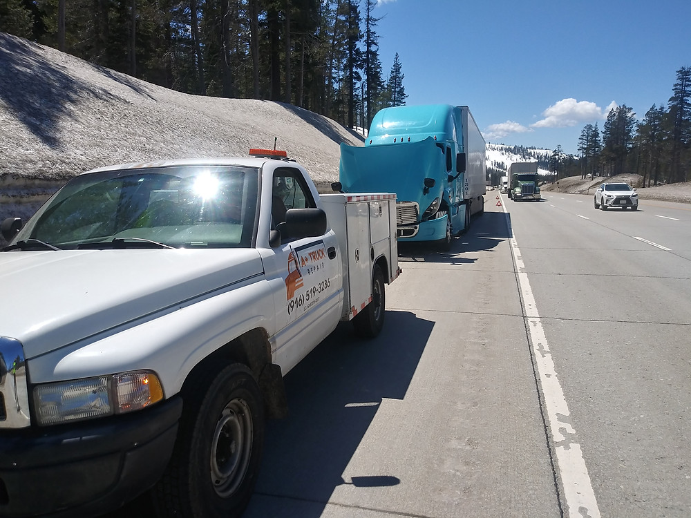 A Plus Truck Repair during mobile road service road call