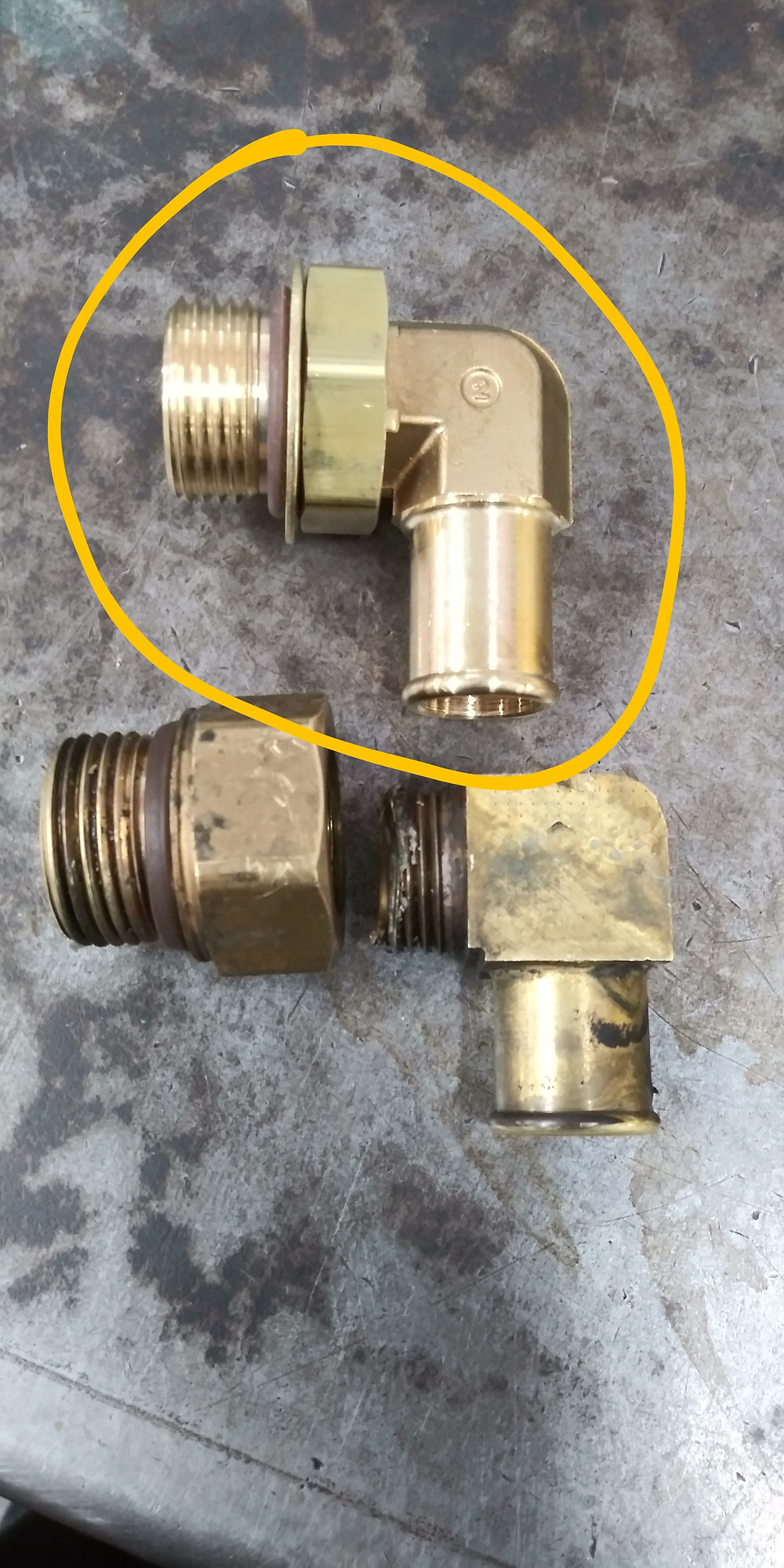 new fitting above failed one at the bottom