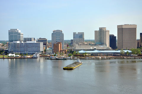 Norfolk city skyline and Elizabeth River