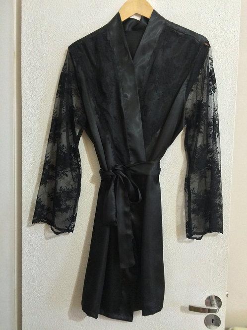 Robe com manga comprida em renda para debutantes