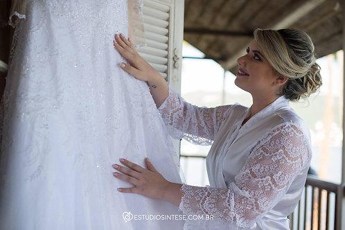 Robe personalizado com manga comprida em renda