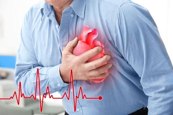 Heart attack concept. Senior man sufferi