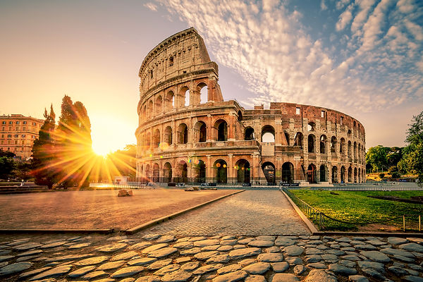 Colosseum in Rome at sunrise, Italy, Eur