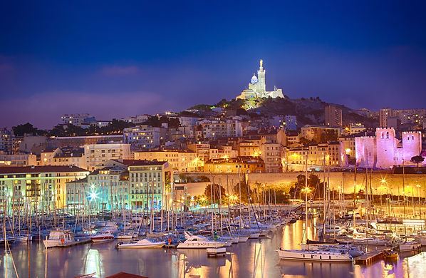 View of Marseille at twilight, France.jp