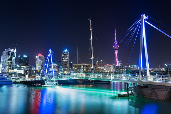 Auckland City and Sky Tower at Night, Au