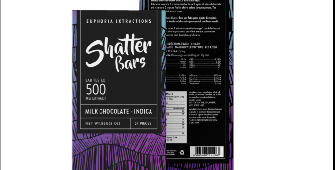 500mg Eu4ia Shatterbars Milk Chocolate