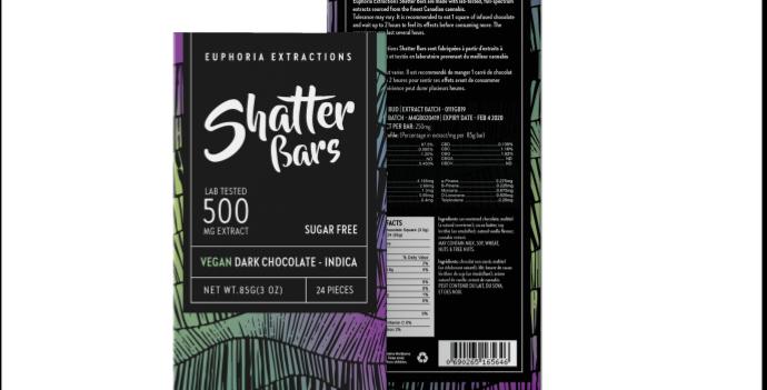 500mg Eu4ia Shatterbars Vegan Dark Chocolate