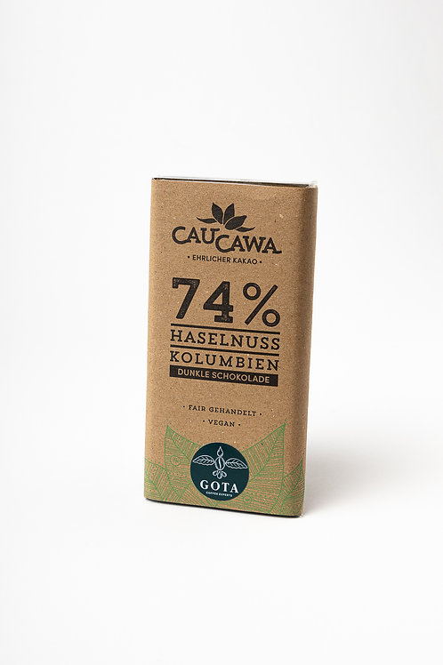 74% hazelnut chocolate bar