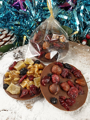Fruit & nut disc baubles. (Pack of 4)