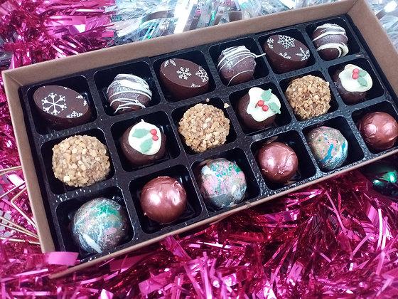 Box of 18 festive chocolate