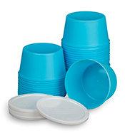 DENTURE CUP WITH LID DISPOSABLE PLASTIC  25/Package