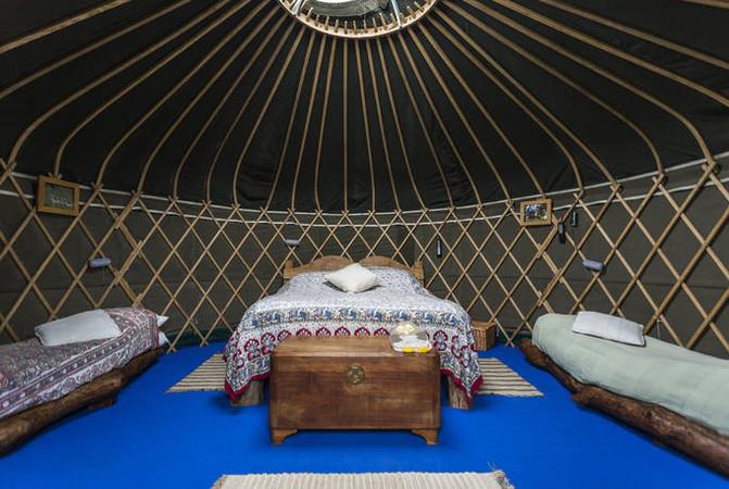Yurt Glamping Bedroom wooden beds