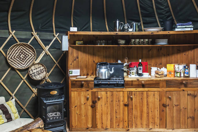 Kitchen in glamping yurt Dorset