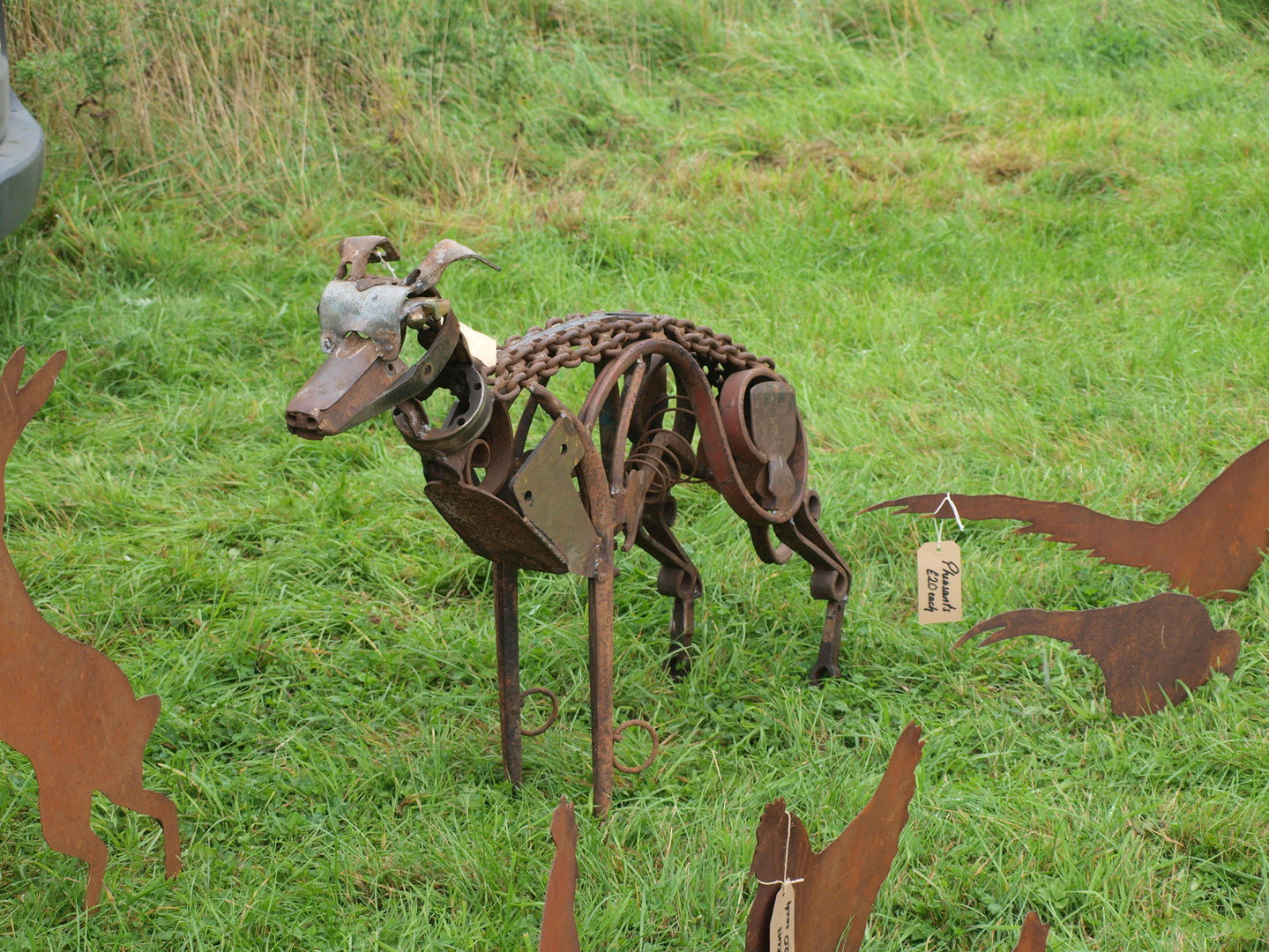 Metal sculpture dog