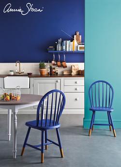 Napoleonic Blue kitchen, Provence, Paris