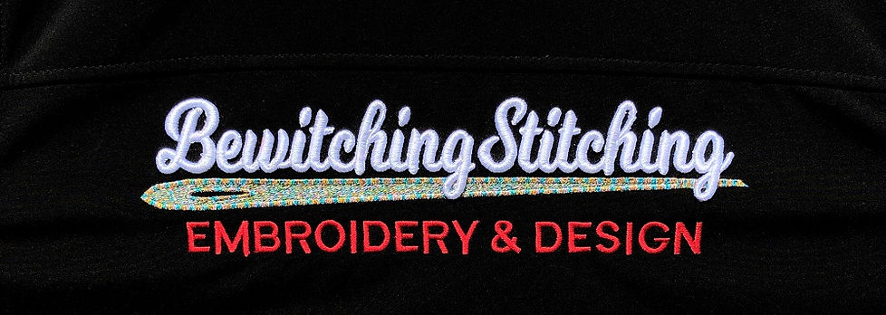 Bewitching Stitching Embroidery & Design's logo embridered on back of jacket using matallic thread and puffy foam.