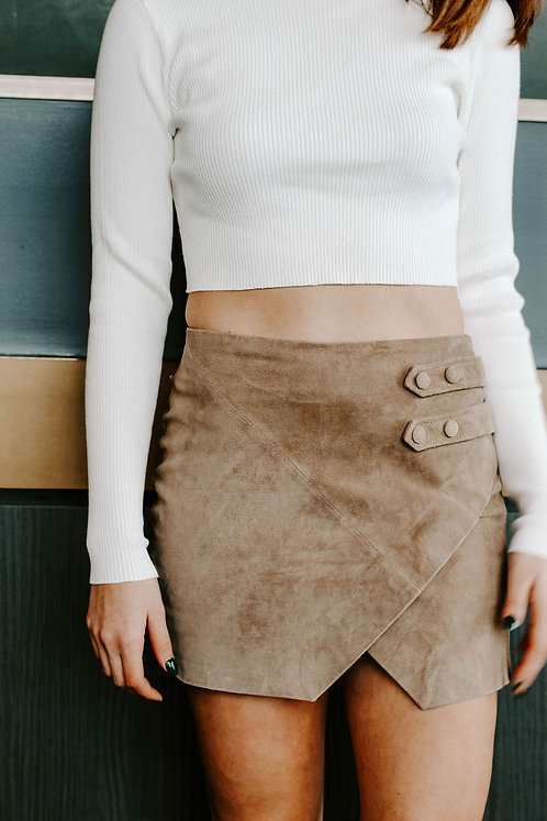 Suede Envelope Skirt