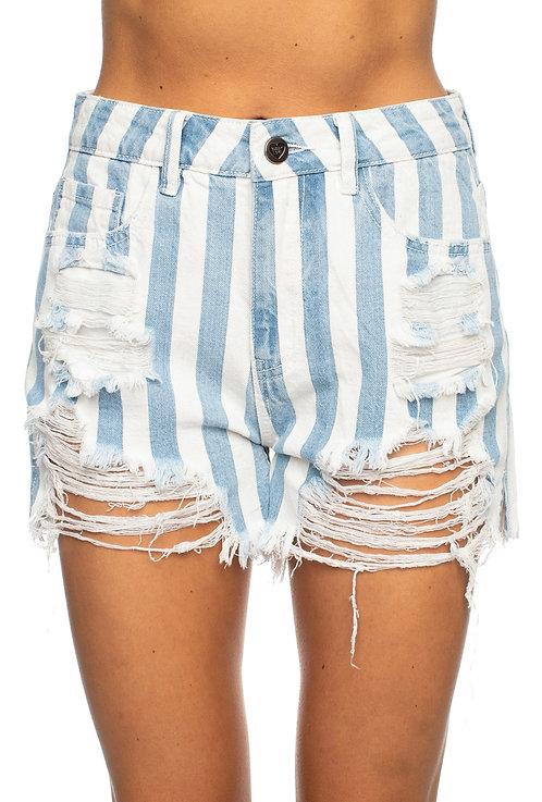 Sheriff Blue Striped Shorts