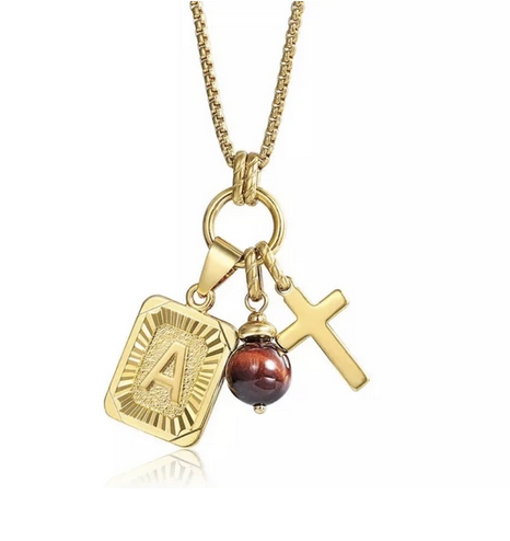 Charmed Initial Card Necklace