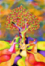 Colorful tree surrounded by women