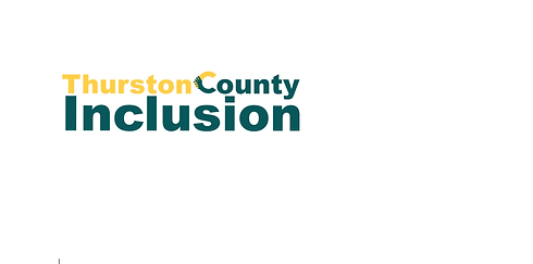 """This is the Thurston County Inclusion logo. It is Yellow and Teal and the """"C"""" looks like hands being held together."""
