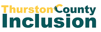 "This is the Thurston County Inclusion logo. It is Yellow and Teal and the ""C"" looks like hands being held together."