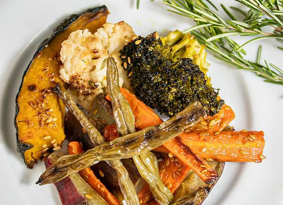 Mix de legumes:  cenoura, abóbora e batata-doce assada