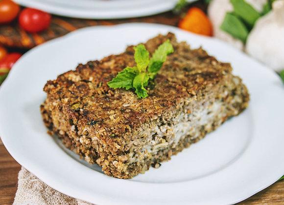 Quibe de carne com quinoa e arroz de palmito