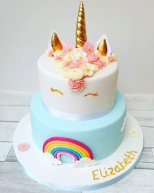 Unicorn, rainbow cake.