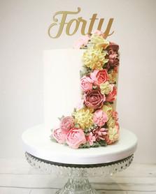 Cascading Buttercream flowers cake